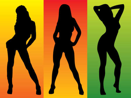 Three sexy women in silhouette on colourful backgrounds Stock Photo - 924587
