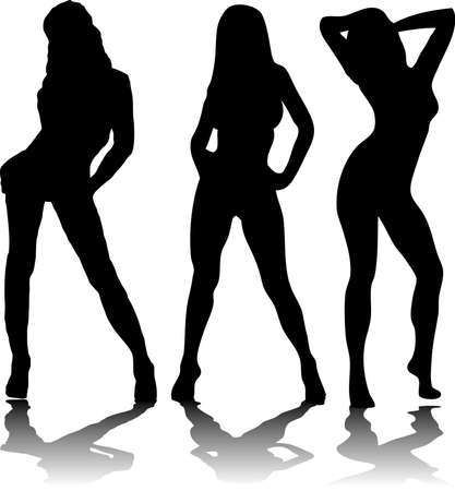 computer dancing: Three sexy women in black silhouette on a white background Stock Photo