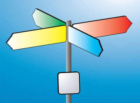 An illustration of a sign post in colour against a blue sky illustration
