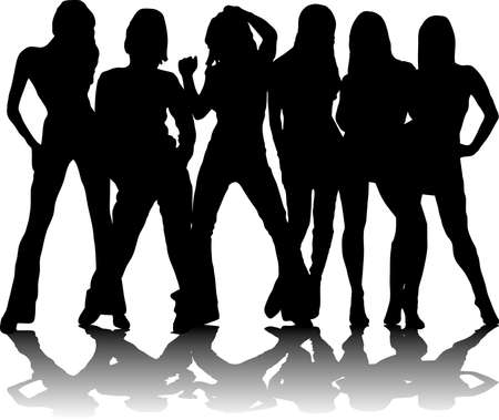 Six sexy party girls in black and white silhouette Stock Photo - 924598