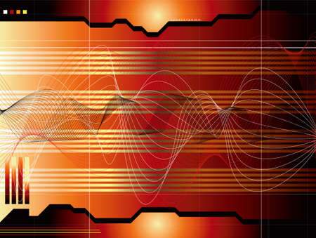 readout: A red and black technical readout with sound waves