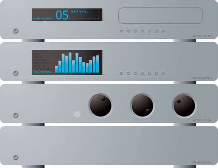 dvd room: A illustration offour seperate stereo units in silver