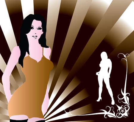 抽象的な茶色の背景と見つめてセクシーな女性