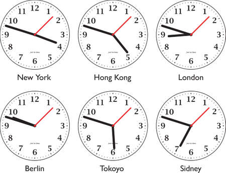 pm: Six differnt clock showing time around the world Stock Photo