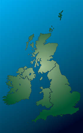 eire: An illustration of the united kingdom in blue and green