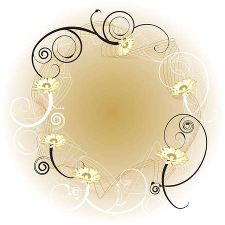 An abstract gold background border with a floral design