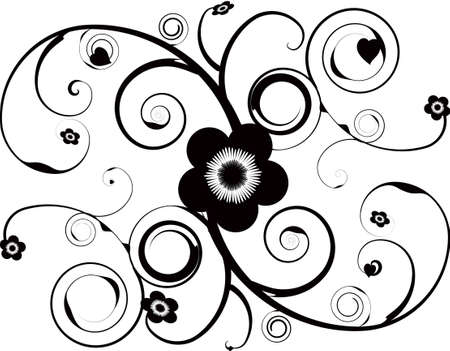 swish: An abstract  design with vine and flower illustrations Stock Photo