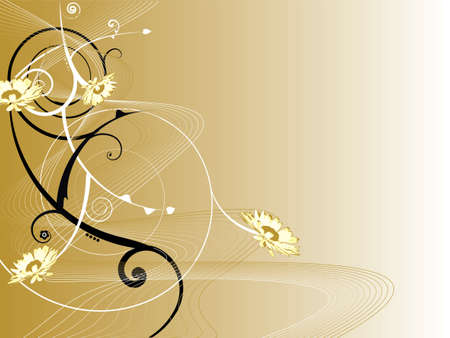 swish: An abstract floral background with swirls and a golden influence Stock Photo