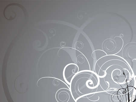 swish: Abstract background in silver and white with a flowing floral theme