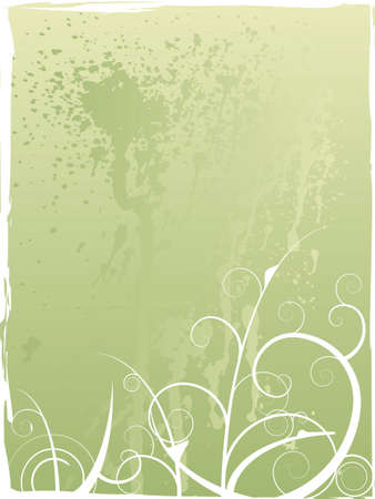 daubs: abstract floral design in green with paint daubs on the background