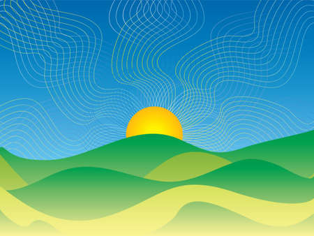 country side: hot sun rising over the country side in abstract style