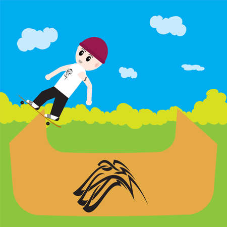 skater boy: skater boy riding a half pipe in a park in a cartoon style Stock Photo