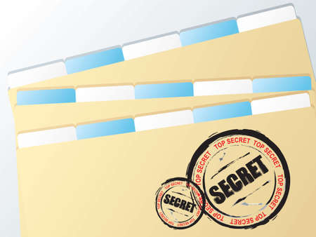 stamped: Folder with top secret stamped on the document