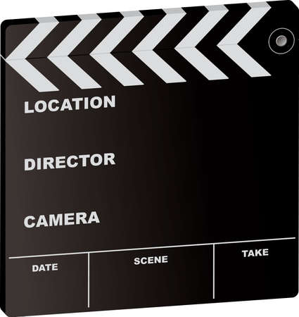 ed: ed illustration of a film clapper board with room to add your own text