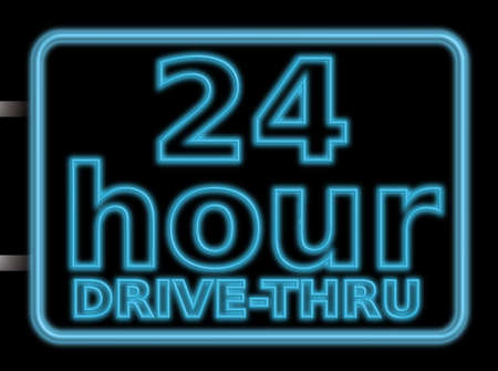 24 hour: 24 hour drive through illustration of a neon sign Stock Photo