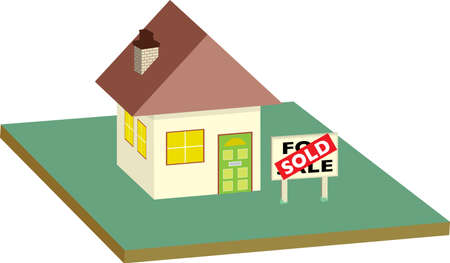 land owner: illustration of a house that has been sold with a sign in the garden