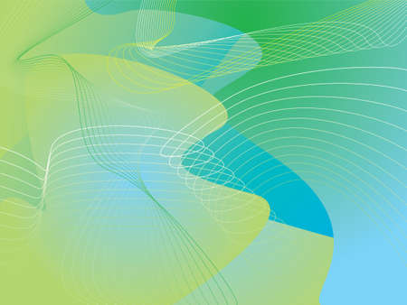 Illustrated abstract background in green and blue with wavy lines photo
