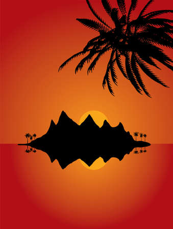 deserted: Deserted island illustration with warm orange and red colours and lone palm trees