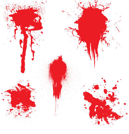 dribbling: Blood dribbling down the page with an illustration of five blood splats