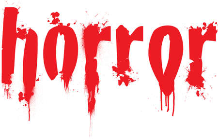 film title: Horror text illustration with blood splats running down the letters