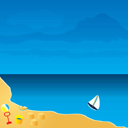 sandcastles: Illustration of a beach seaside resort with toys and sandcastles Stock Photo