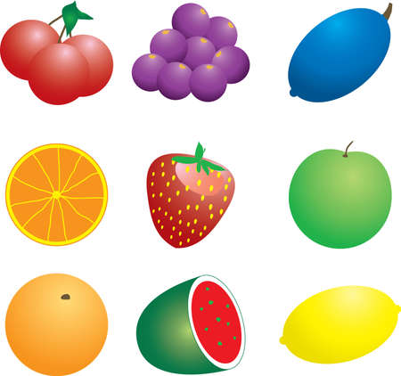 could: Illustration of a number of fruit and veg that could be used as a background Stock Photo