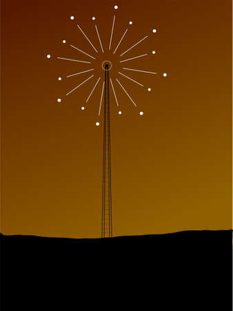 whit: Abstract illustration of a phone mast whit a signal coming from the top Stock Photo