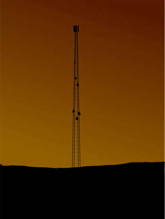 setting sun: An illustration of a phone mast in silhouette against a setting sun Stock Photo