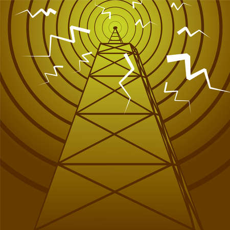 satellite transmitter: Abstract old fashioned radio mast with a radiating signal Stock Photo