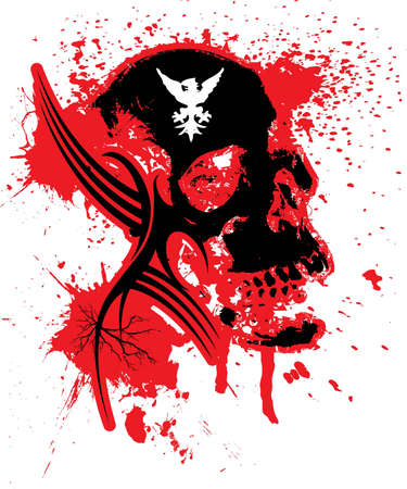 Abstract exploding skull in black and red that could be used as a logo or background photo