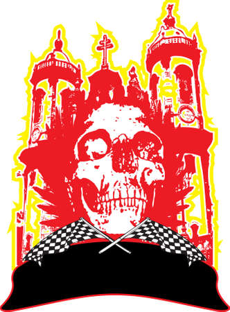 Abstract gothic skull logo placed over a church in red with room to add your own text photo