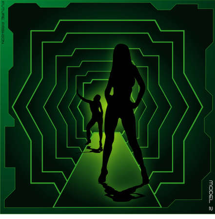 Abstract futuristic model on a cat walk with a green lighting set Stock Photo - 1079504
