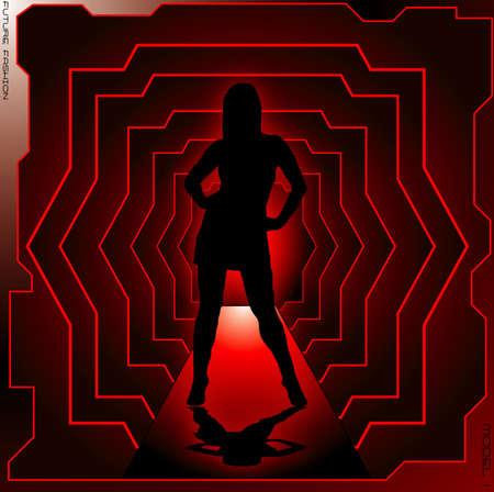 Illustration of a sexy woman walking down a futuristic cat walk Stock Illustration - 1079505