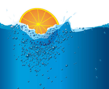 Illustration  of a piece of fruit being dropped into water and the created bubbles Stock Illustration - 1079506