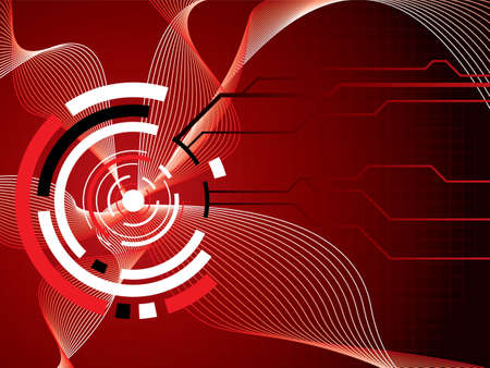 thru: abstract futuristic illustrated background in red and black showing the passing of information thru the internet