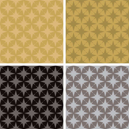illustrated seventies style wallpaper with a seamless repeat design in four metalic color variations photo