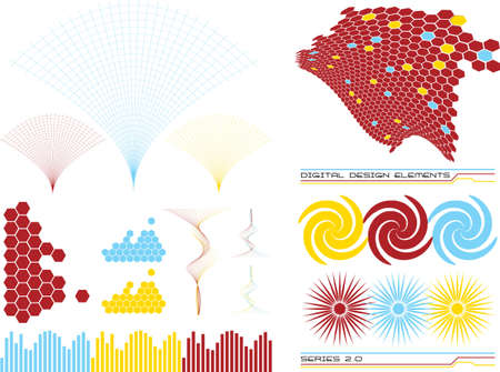A collection of elements that could be used to make up a design from a series of five variations Stock Photo - 1165455