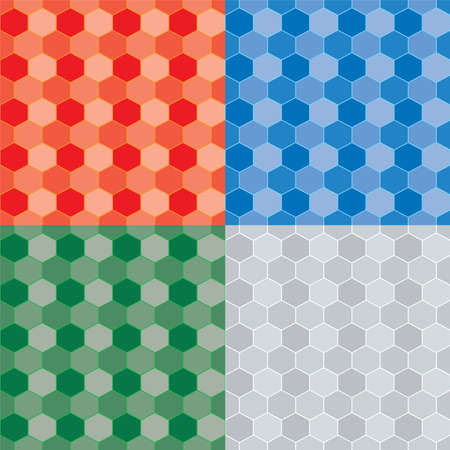 Seamless repeat pattern in four color variations using a honeycomb style image photo
