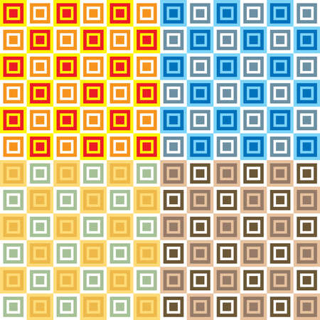 overlaying: Abstract seamless repeat design with different size squares overlaying each other in four color variations