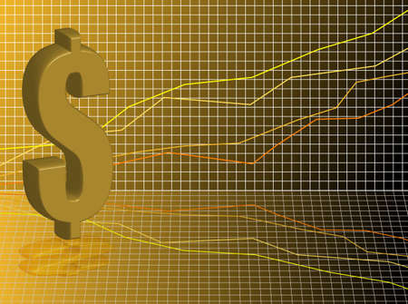 Financial business background showing a dollar sign set against a graph in gold and black photo