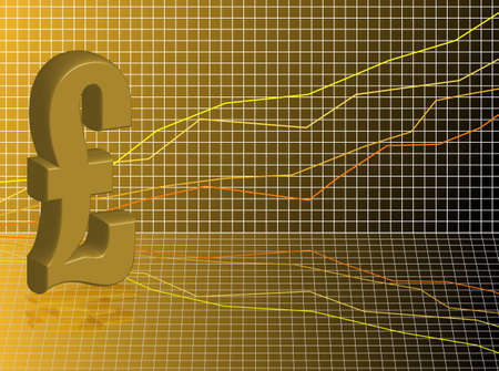 Financial business background showing a pound sign set against a graph in gold and black photo