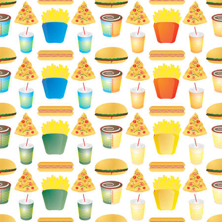 Illustrated fast food background that seamlessly repeats in four color variations photo