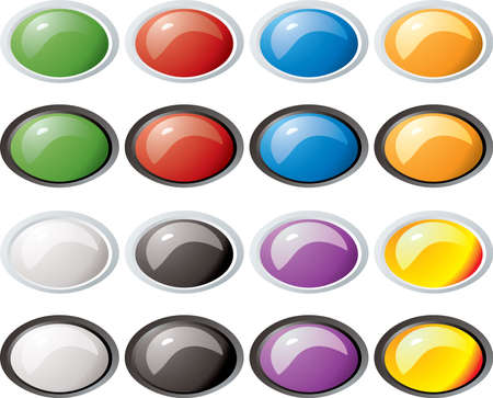 bevel: Illustration of a collection of colored buttons with two bevel color variations Stock Photo