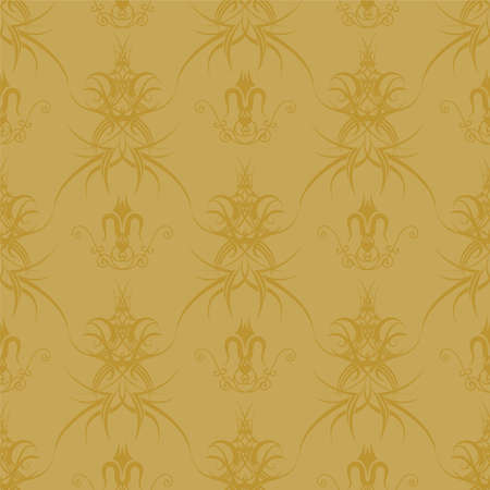 two tone: Illustrated wallpaper design that seamlessly repeats in two tone gold