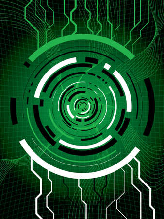 Abstract technical background in green showing digital information passing thru a portal Stock Photo - 1282629
