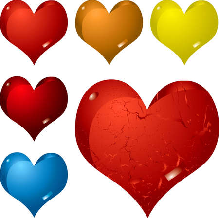 sensation: Illustration of six different hearts in color variations ideal as a button or for valentines day Stock Photo
