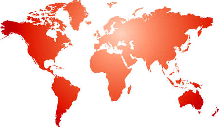 Illustration of a world map with a red and white radial gradient