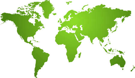 Illustration of a world map in two tone green ideal as a background Stock Illustration - 1352369