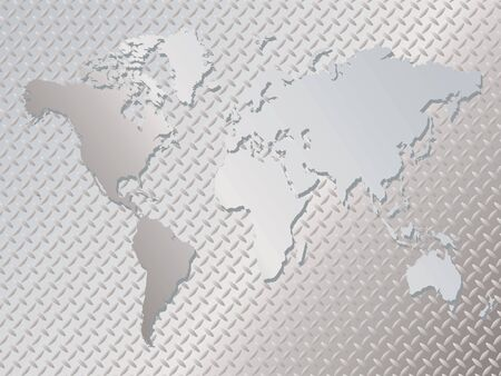 Illustrated metal background with an anti slip surface and the world map place over it photo