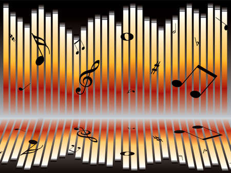 Illustration of an abstract music graph with musical notes Stock Illustration - 1358732